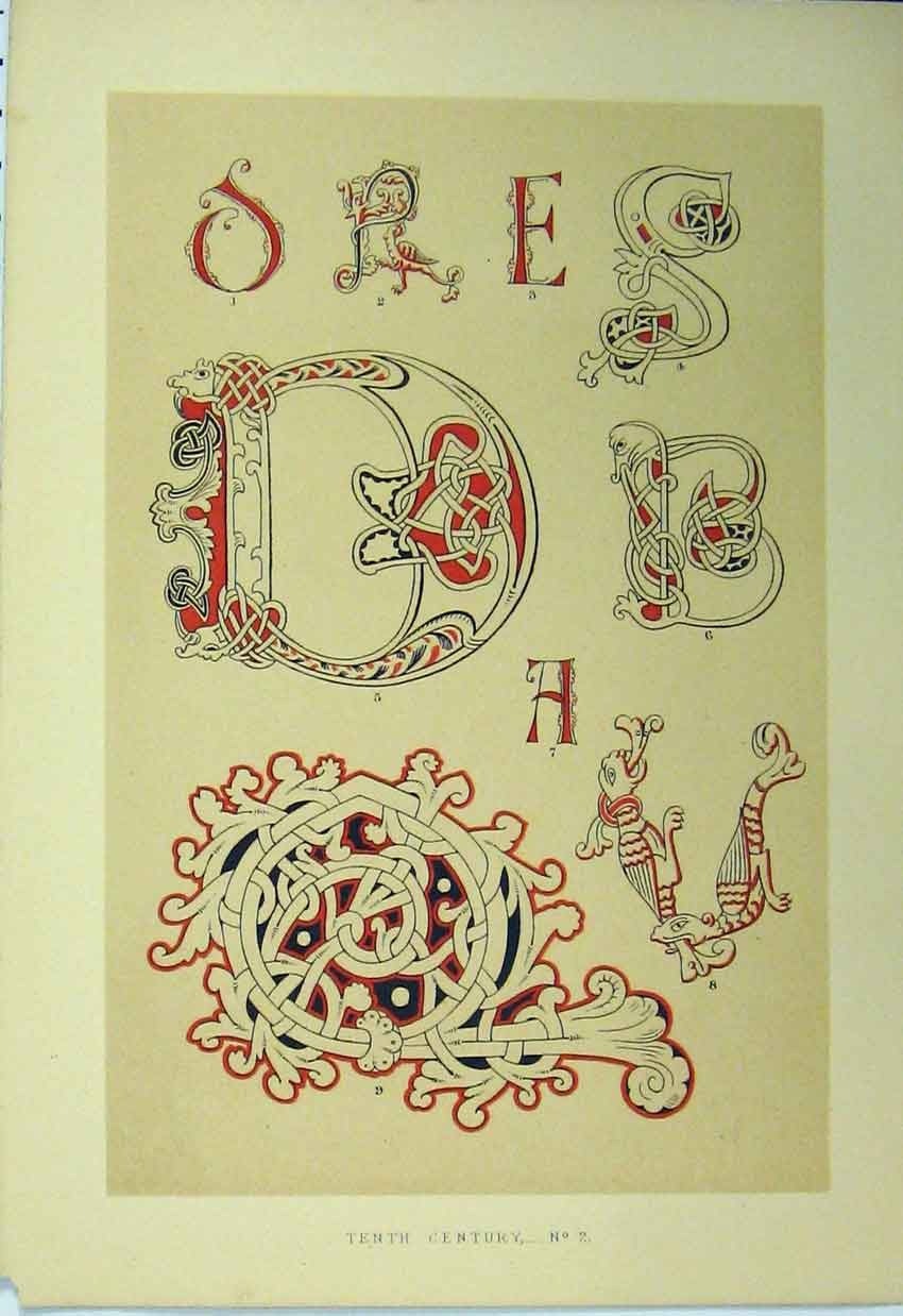 Print Tenth Century Design C1882 Calligraphy Letters 151A113 Old Original