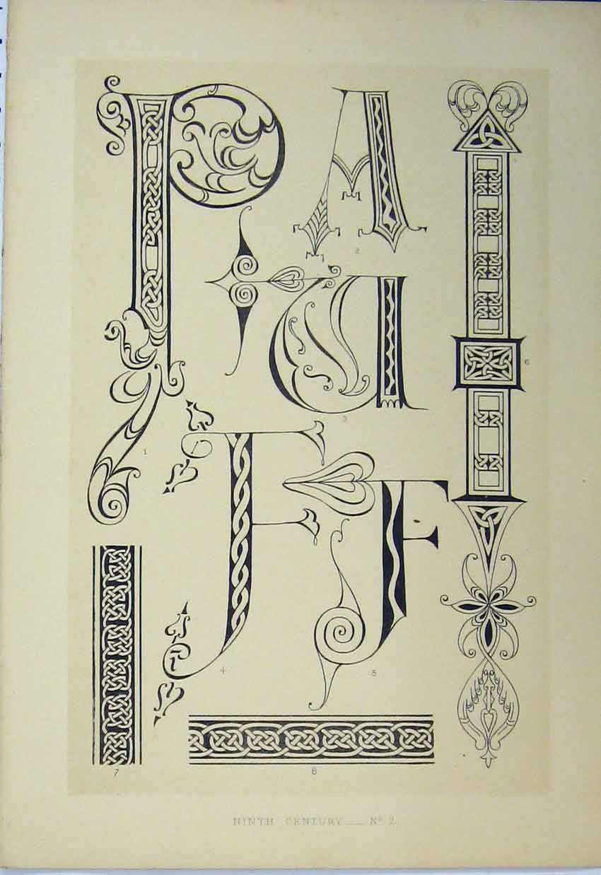 Print Ninth Century C1882 Calligraphy Design Letters 154A113 Old Original