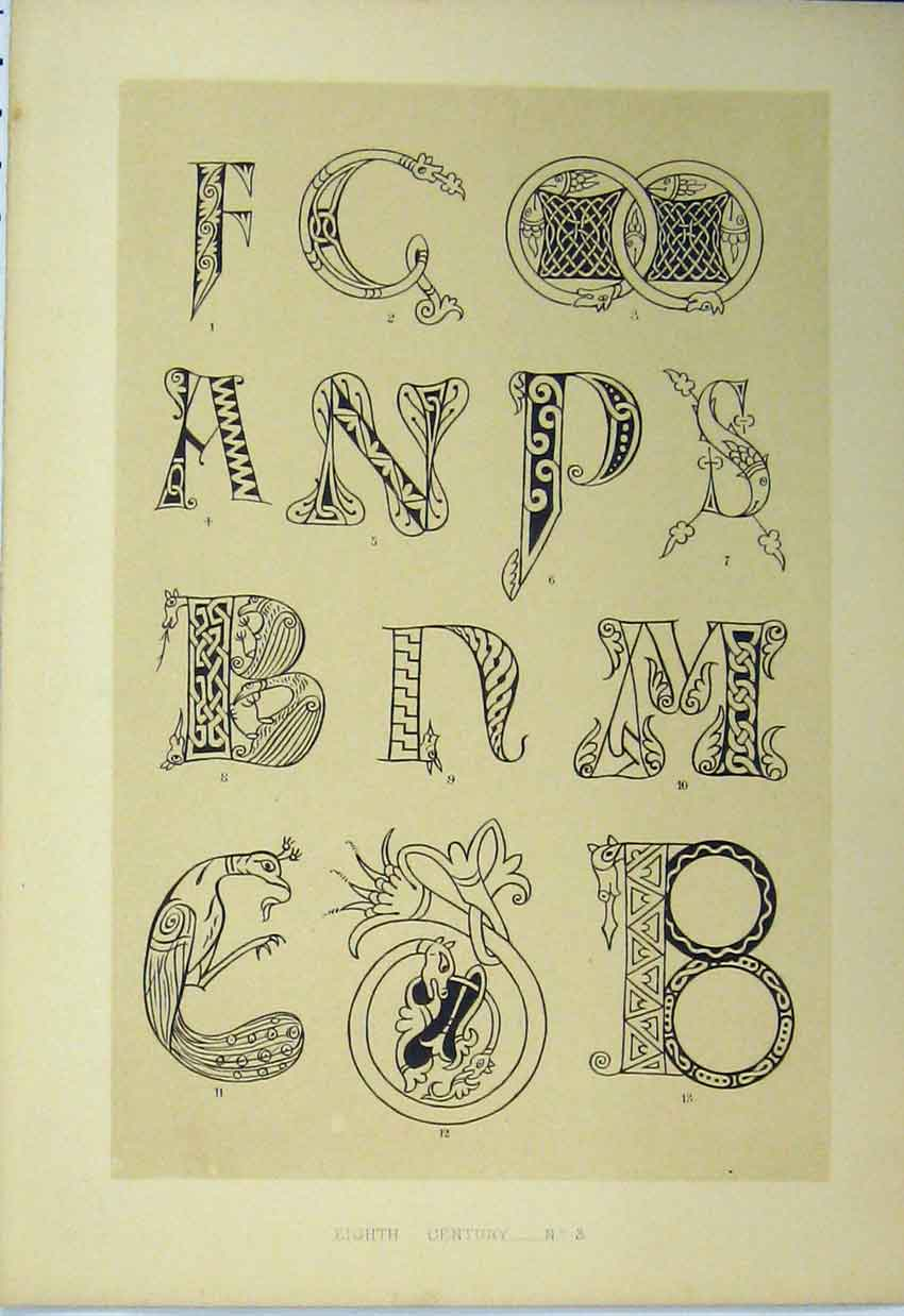 Print Eighth Century C1882 Calligraphy Letters 156A113 Old Original
