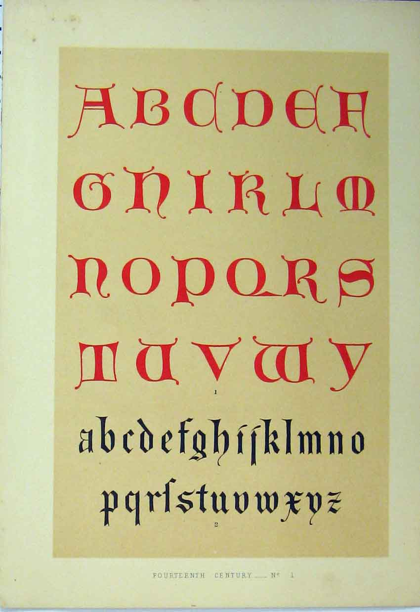 Print C1882 Calligraphy Letters Fourteenth Century Colour 163A113 Old Original