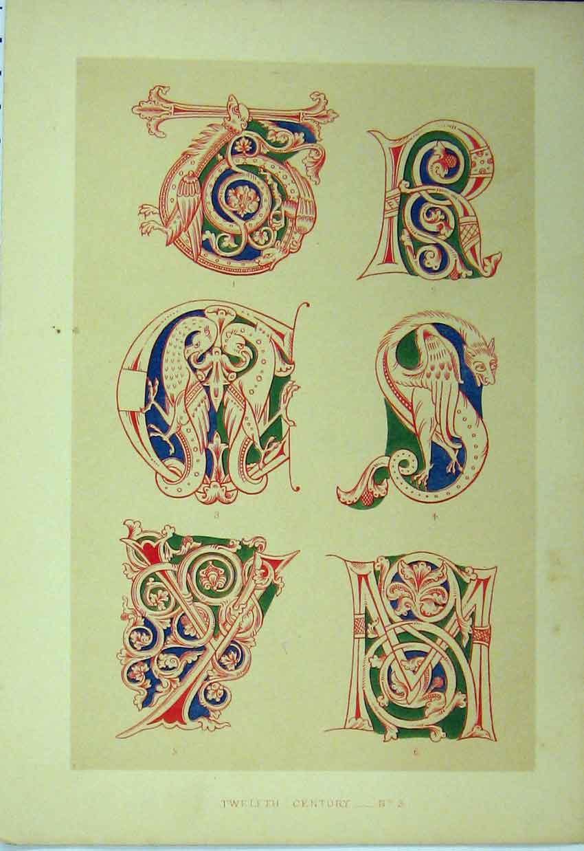 Print Twelfth Century C1882 Calligraphy Letters Colour 168A113 Old Original