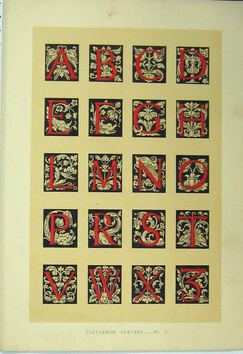 Print C1882 Colour Sixteenth Century Calligraphy Letter 170A113 Old Original