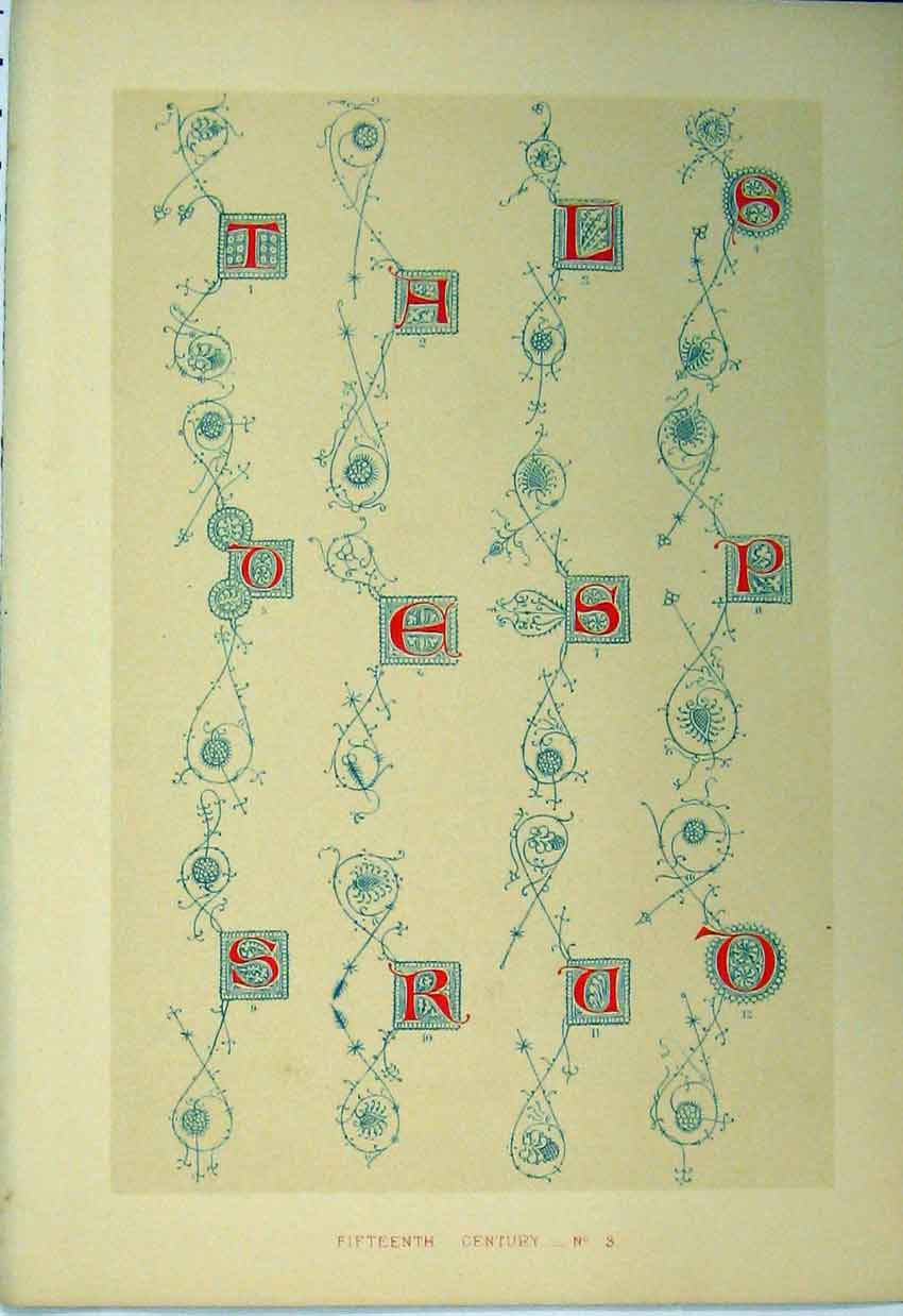Print C1882 Calligraphy Letter Fifteenth Century Colour 173A113 Old Original