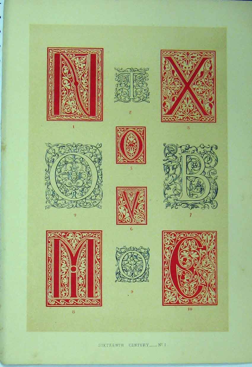 Print C1882 Sixteenth Century Calligraphy Letters Colour 174A113 Old Original
