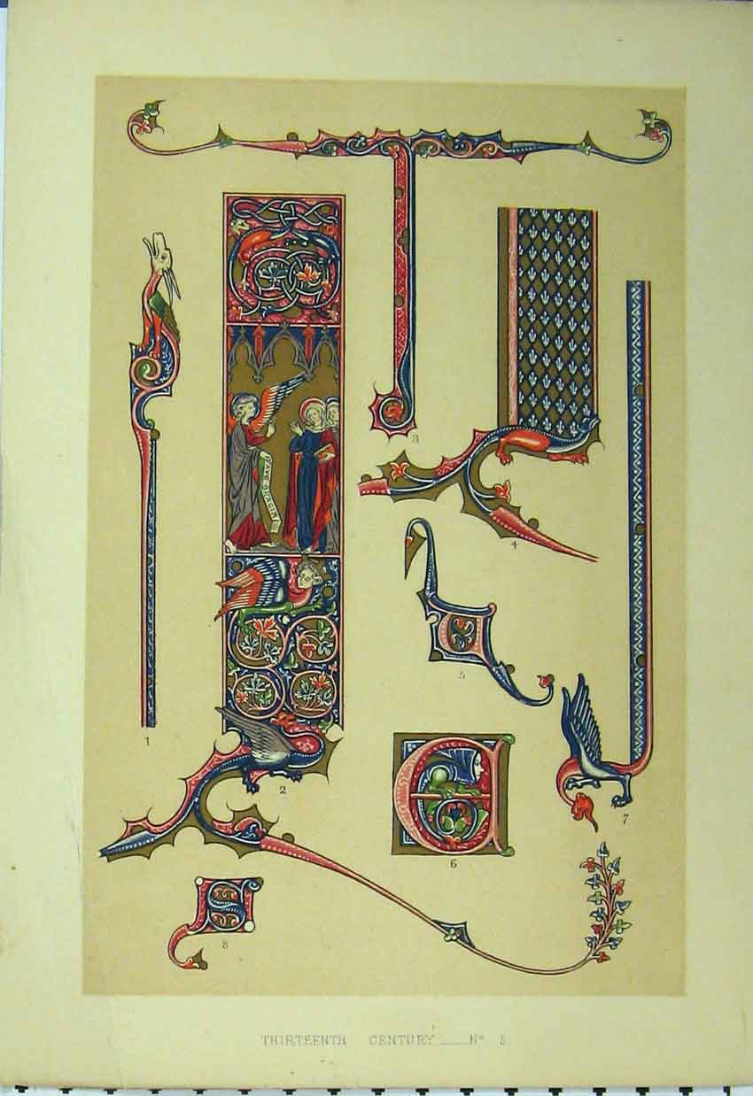 Print Thirteenth Century C1882 Colour Design Red Blue 184A113 Old Original