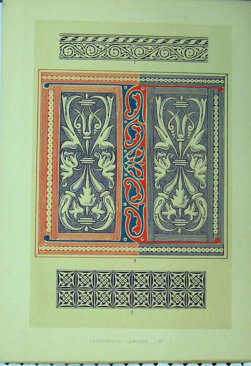 Print Fourteenth Century Colour Pattern C1882 Purple 192A113 Old Original