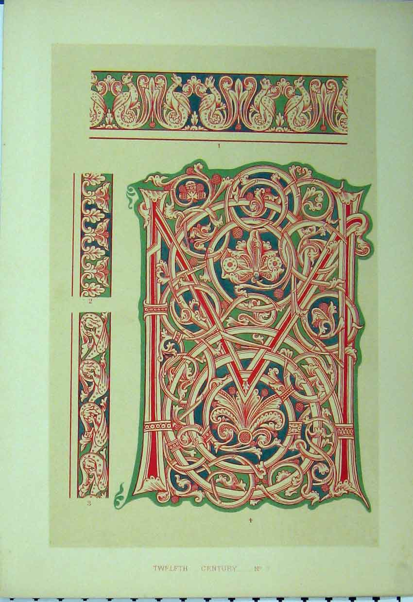 Print C1882 Colour Design Twelfth Century Red Green Pattern 193A113 Old Original