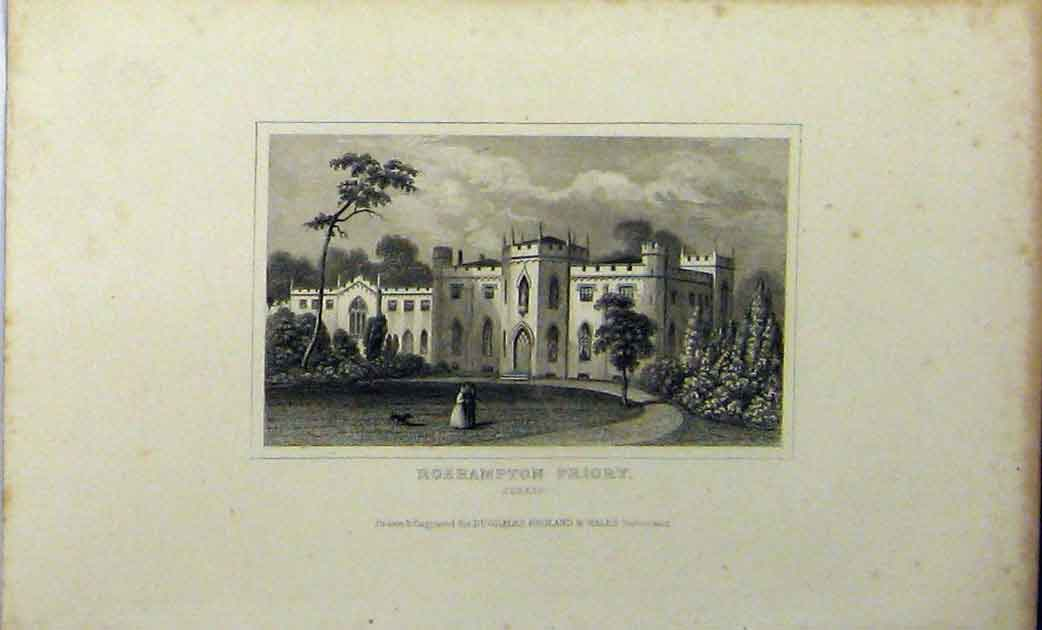 Print C1848 View Roehampton Priory Surrey Dugdales 111A114 Old Original