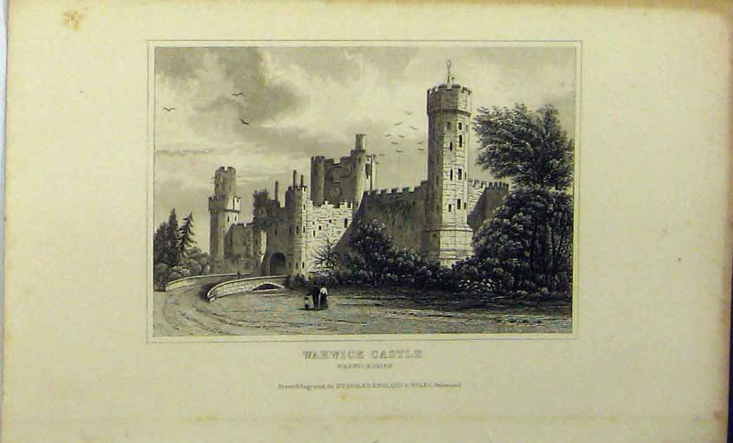 Print View Warwick Castle C1848 Warwickshire Dugdales 112A114 Old Original