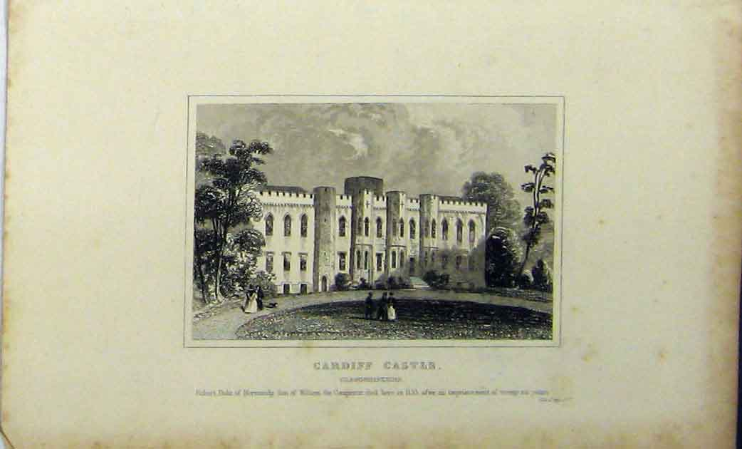 Print View Cardiff Castle Glamorganshire C1848 Dugdales 117A114 Old Original