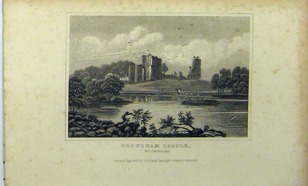 Print C1848 View Brougham Castle Westmoreland Dugdales 122A114 Old Original