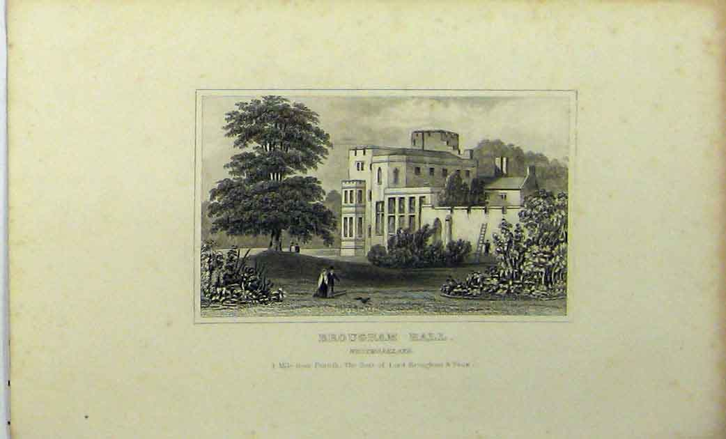 Print C1848 View Brougham Hall Westmoreland Lord Vaux 123A114 Old Original