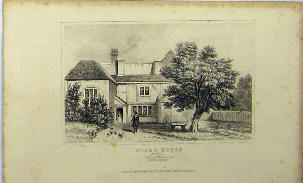 Print C1848 Popes House Binfield Berkshire Dugdales 132A114 Old Original