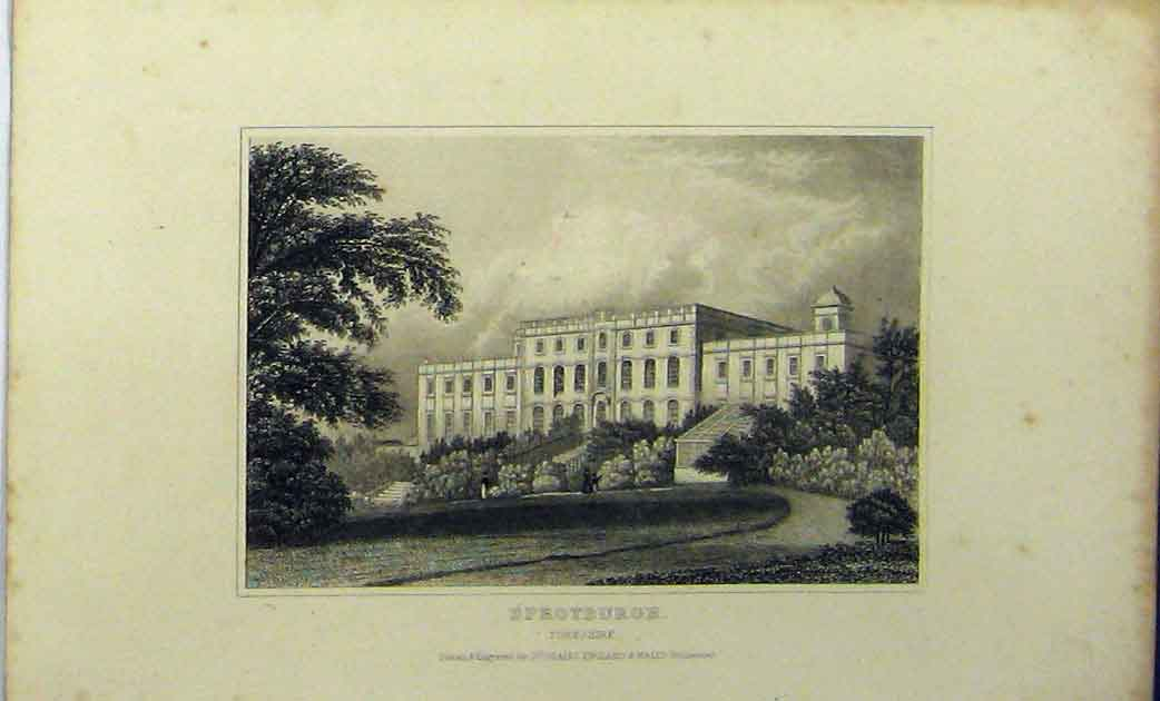 Print C1848 View Building Sprotburgh Yorkshire Dugdales 133A114 Old Original