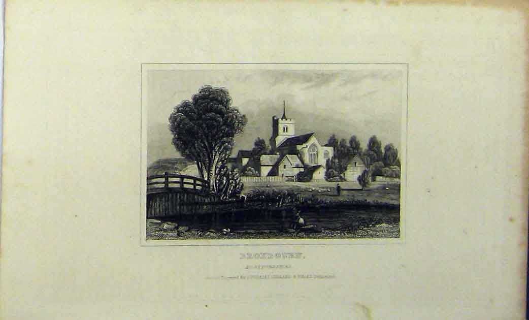 Print View Broxbourn Hertfordshire C1848 Dugdales Country 143A114 Old Original