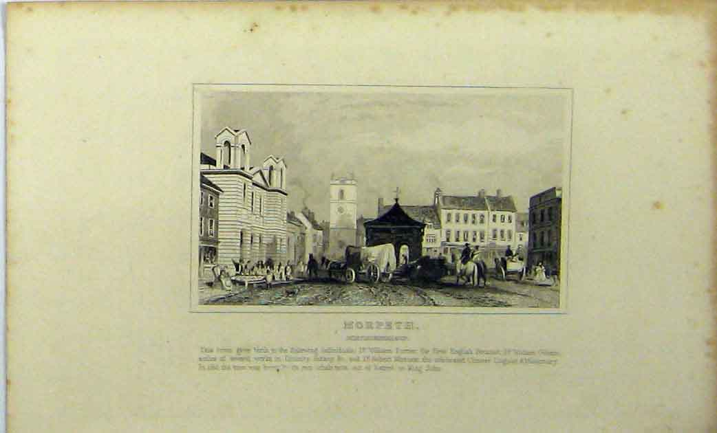 Print View Morpeth Northumberland C1848 Street Scene 144A114 Old Original