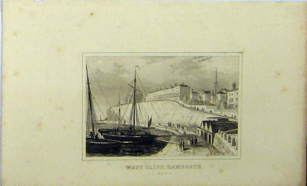 Print C1848 View West Cliff Ramsgate Kent Ship Dugdales 153A114 Old Original