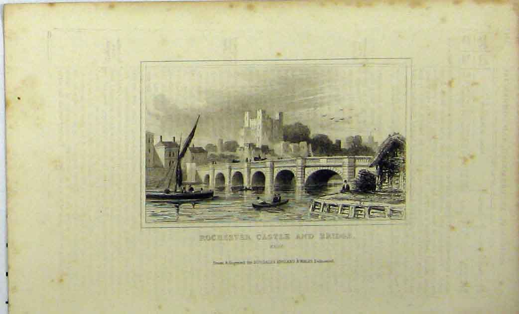 Print C1848 View Rochester Castle Bridge Kent Dugdales 156A114 Old Original