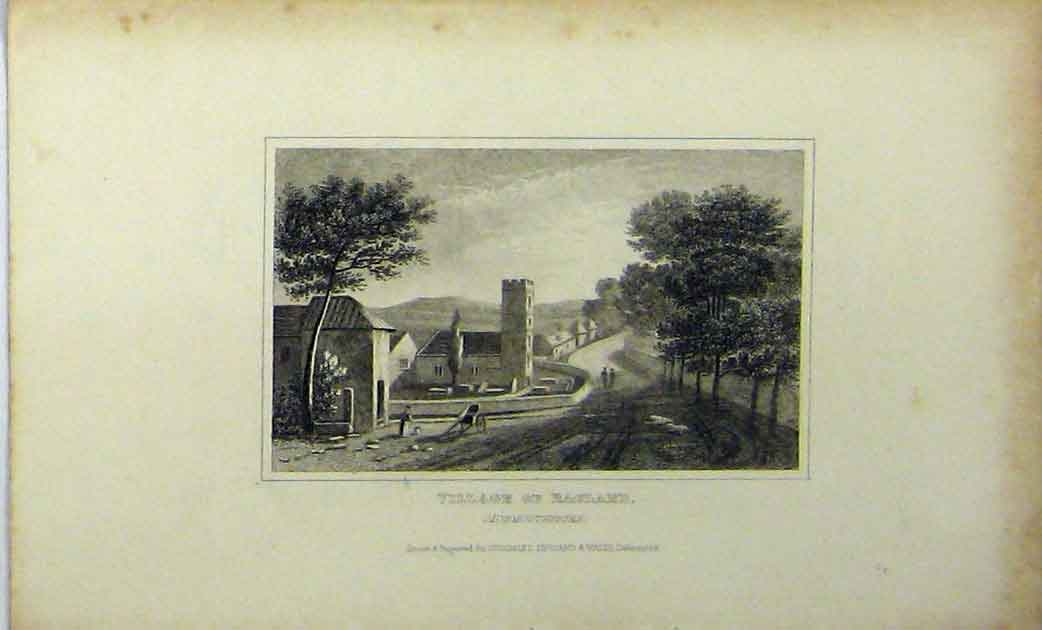 Print View Village Ragland Monmouthshire C1848 Dugdales 158A114 Old Original