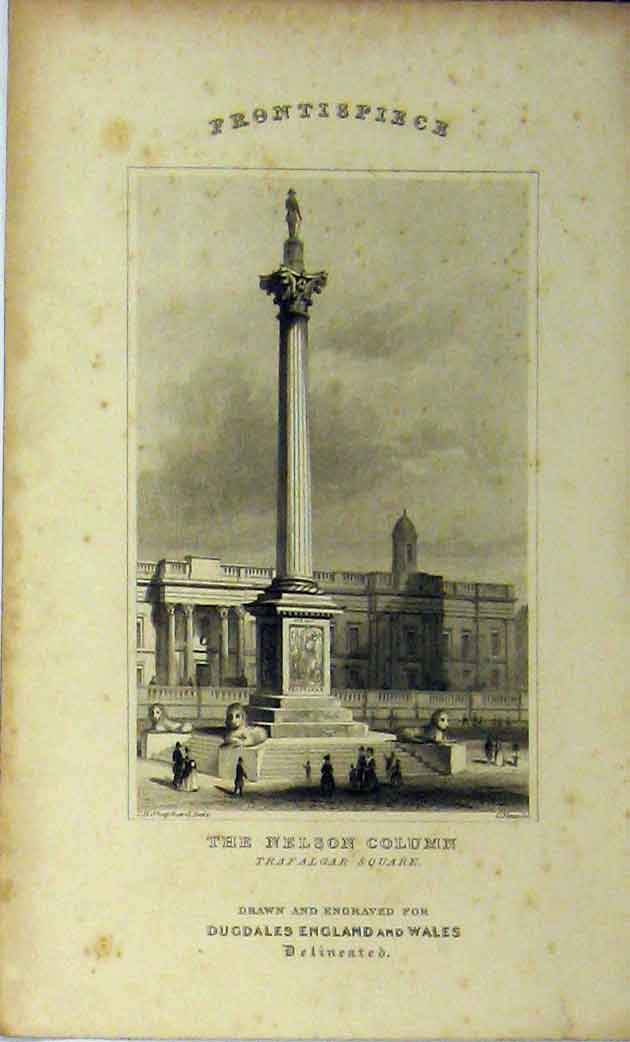 Print View Nelson Column Trafalgar Square C1848 London 165A114 Old Original