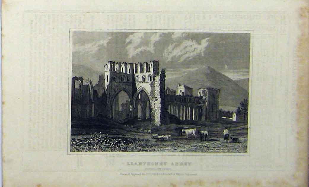Print C1848 Llanthoney Abbey Monmouthshire Dugdales 168A114 Old Original