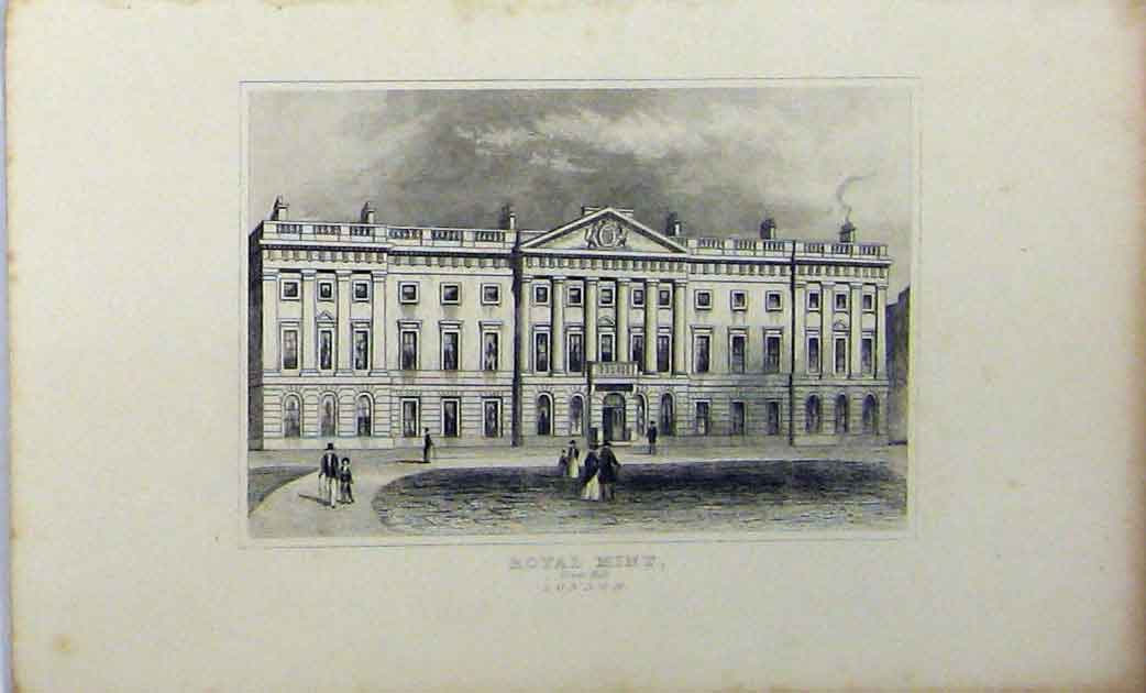 Print C1848 Building Royal Mint Tower Hill London Dugdales 170A114 Old Original
