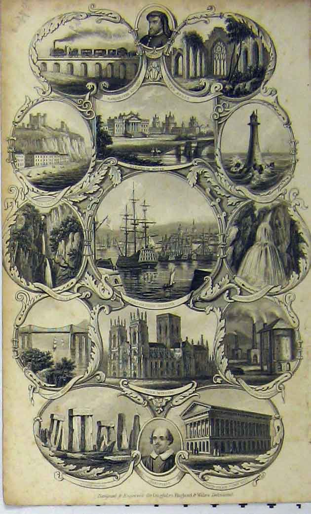 Print C1848 Portsmouth Harbour Manchester Railway Bridge 175A114 Old Original