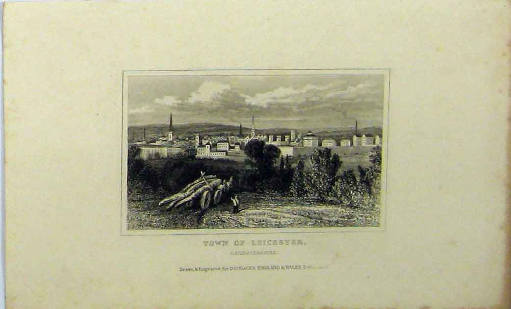 Print C1848 View Town Leicester England Dugdales 181A114 Old Original
