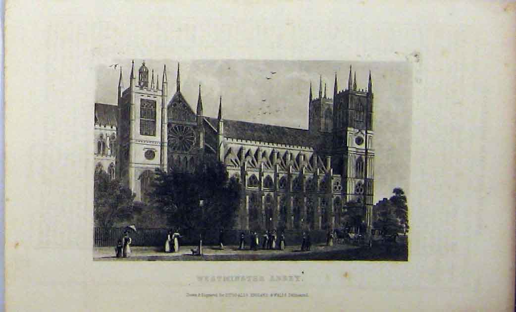 Print View Westminster Abbey C1848 Building Dugdales 184A114 Old Original