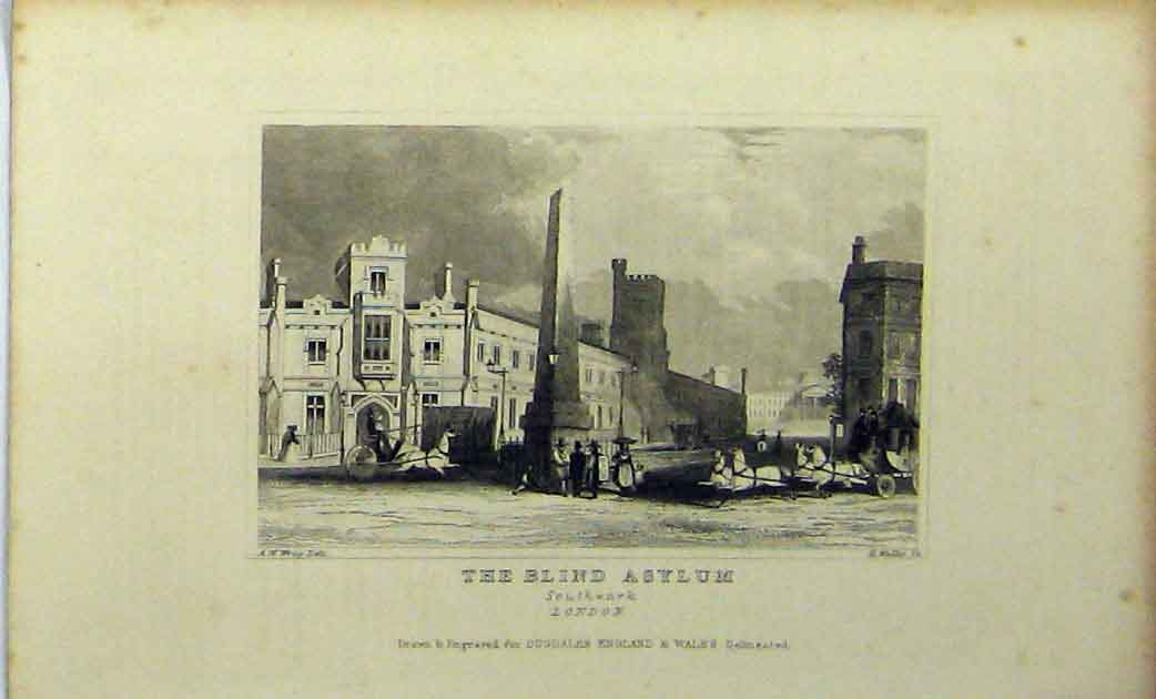 Print View Blind Asylum Southwark London C1848 Dugdales 187A114 Old Original