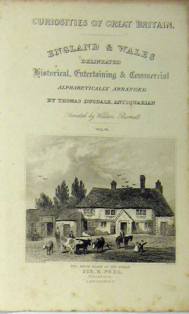 Print Blackburn Lancashire Sir Peel Birth-Place C1848 Scene 189A114 Old Original