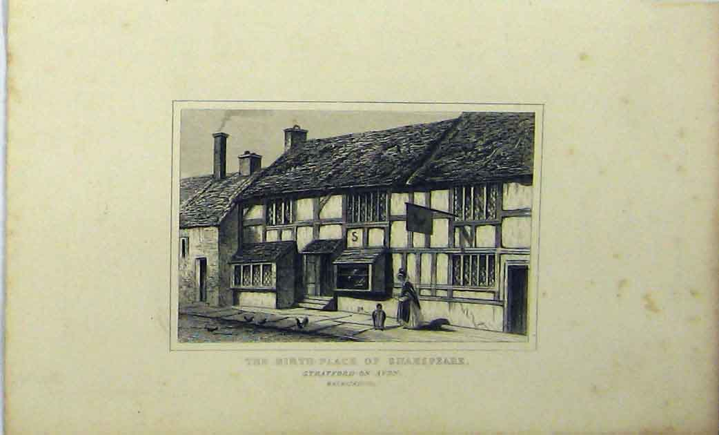 Print Statford-On-Avon Birth-Place Shakspeare C1848 Dugdales 190A114 Old Original
