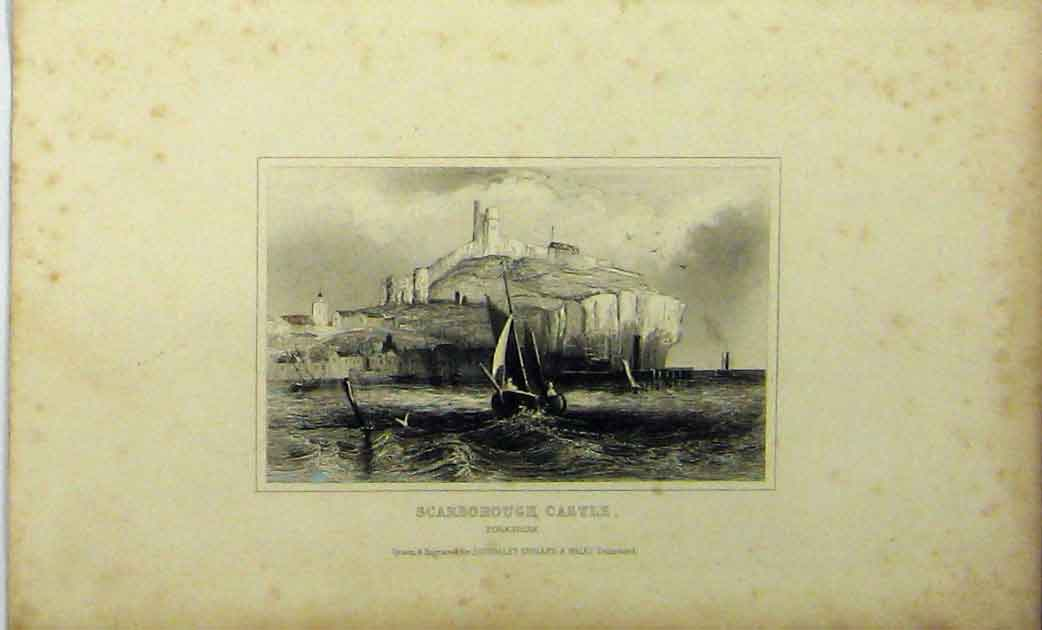 Print Scarborough Castle Yorkshire C1848 Ships Sea Dugdales 197A114 Old Original