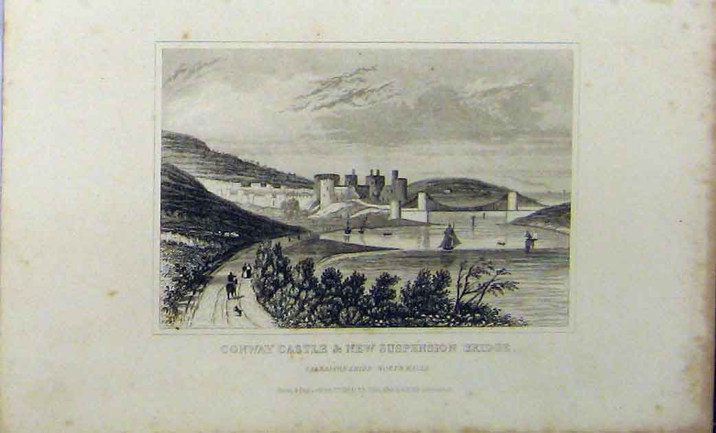Print Conway Castle New Suspension Bridge C1848 Dugdales 204A114 Old Original