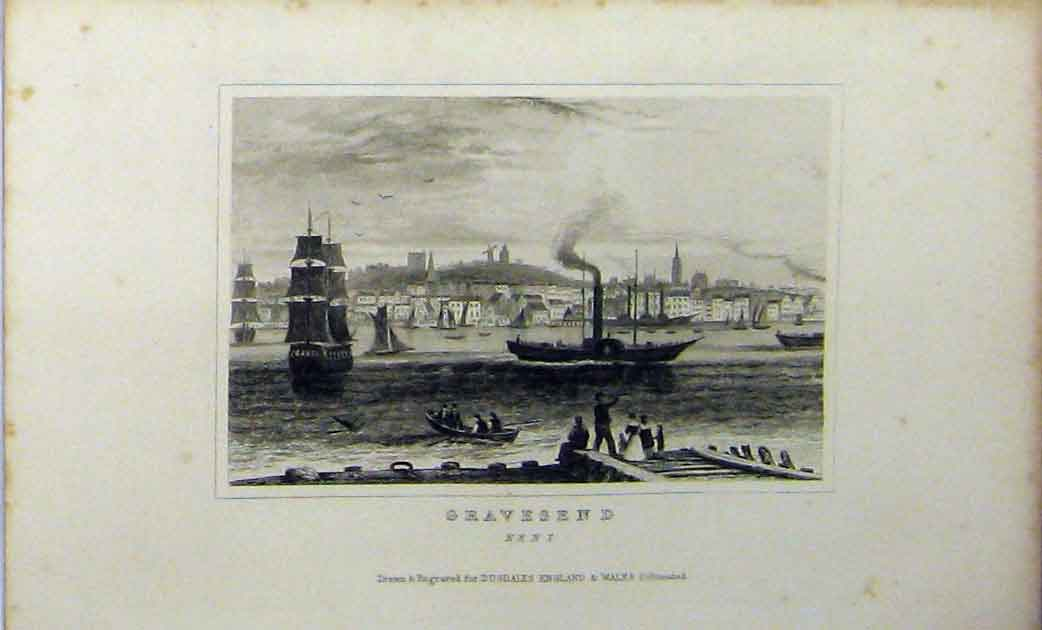 Print View Gravesend Kent Ship Steamer C1848 Dugdales 218A114 Old Original