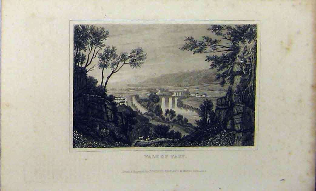 Print C1848 View Country Vales Taff Dugdales 220A114 Old Original