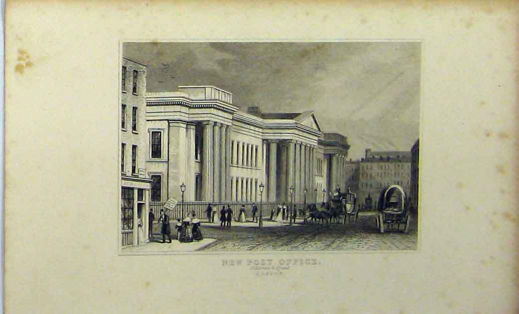 Print View New Post Office C1848 St Martins-Le-Grand London 227A114 Old Original