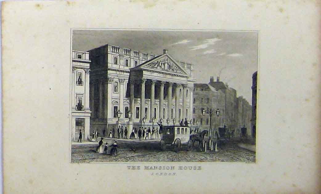 Print C1848 Mansion House London Dugdales Horse Carriage 229A114 Old Original