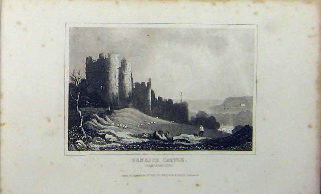 Print C1848 View Penrice Castle Glamorganshire Dugdales 233A114 Old Original