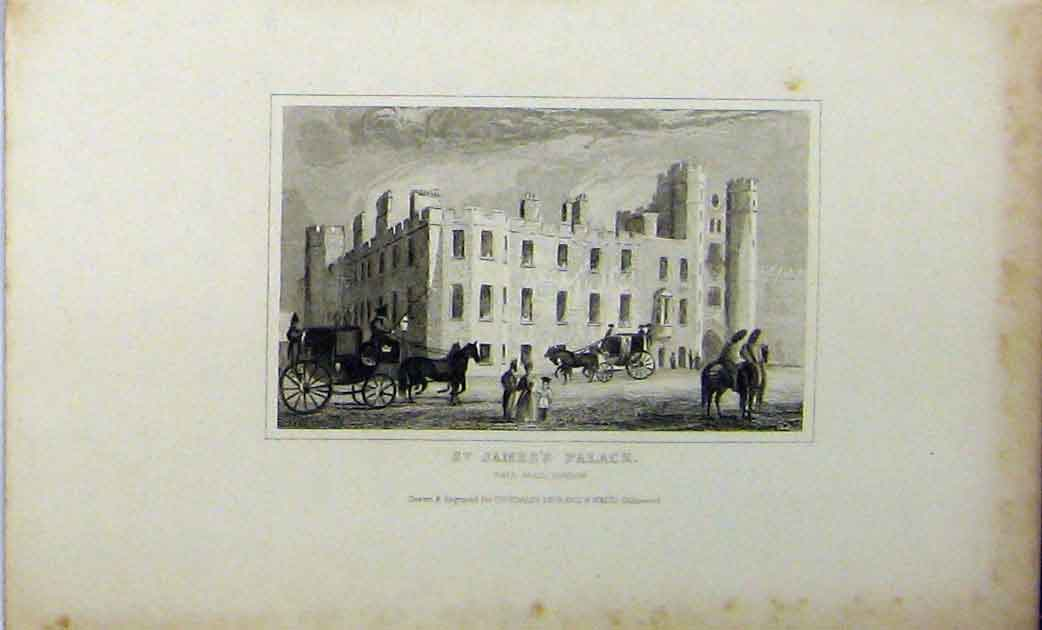 Print View St James Palace Pall Mall London C1848 Dugdales 238A114 Old Original