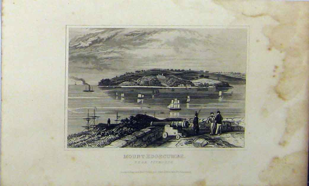 Print View Mount Edgecumbe C1848 Plymouth Dugdales 239A114 Old Original