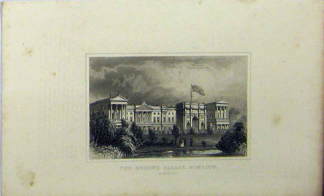 Print View Queens Palace Pimlico Middlesex C1848 Dugdales 240A114 Old Original