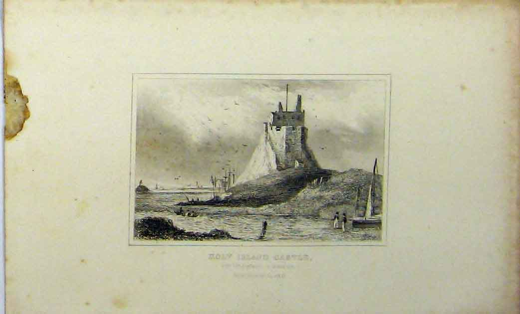 Print C1848 View Holy Island Castle Northumberland 256A114 Old Original
