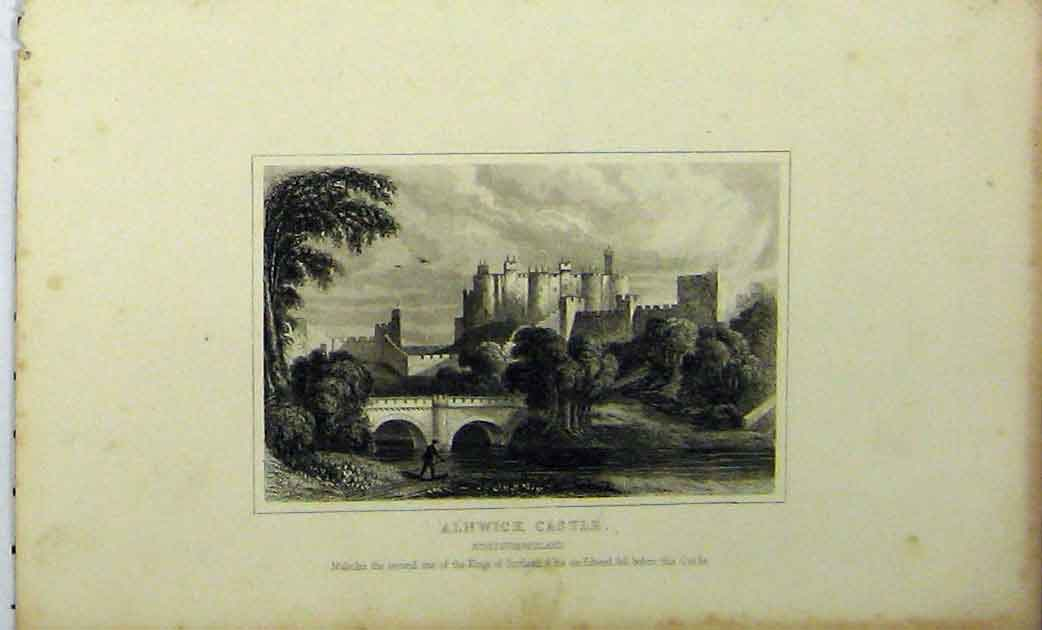 Print View Alnwick Castle Northumberland C1848 Dugdales 267A114 Old Original