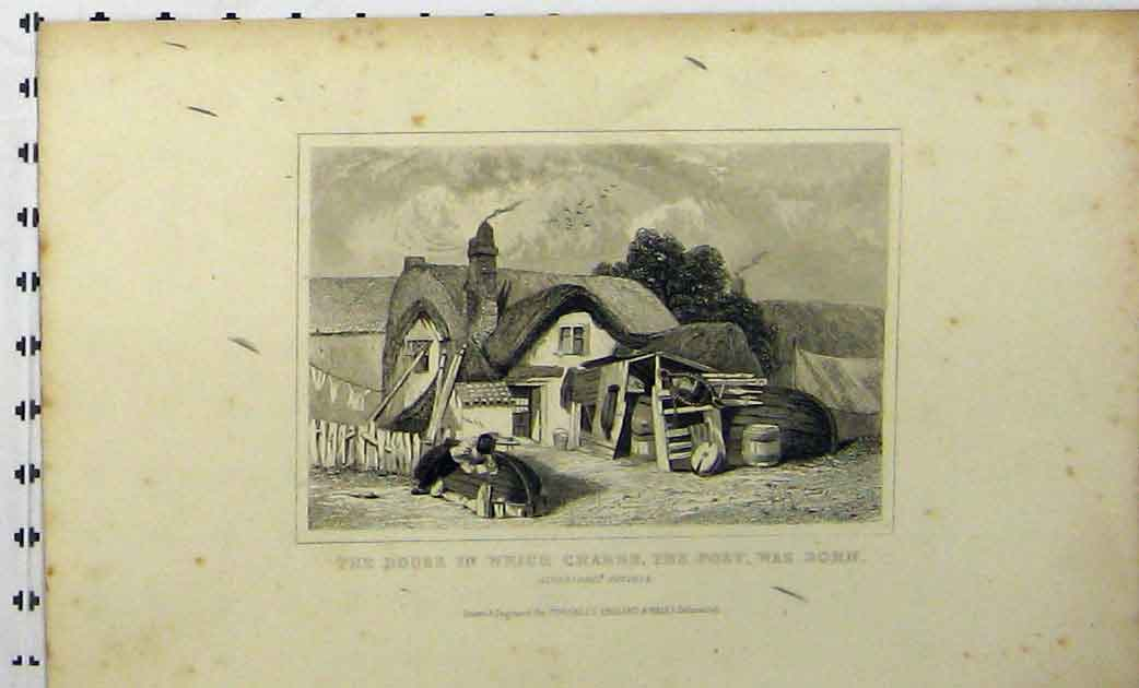 Print C1848 House Crabbe Poet Born Aldeburgh Suffolk 268A114 Old Original