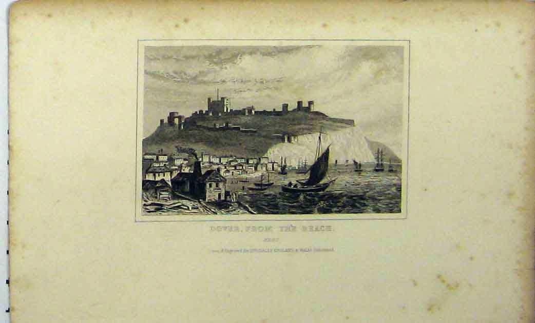 Print View Dover Harbour Kent C1848 Dugdales Boat 271A114 Old Original