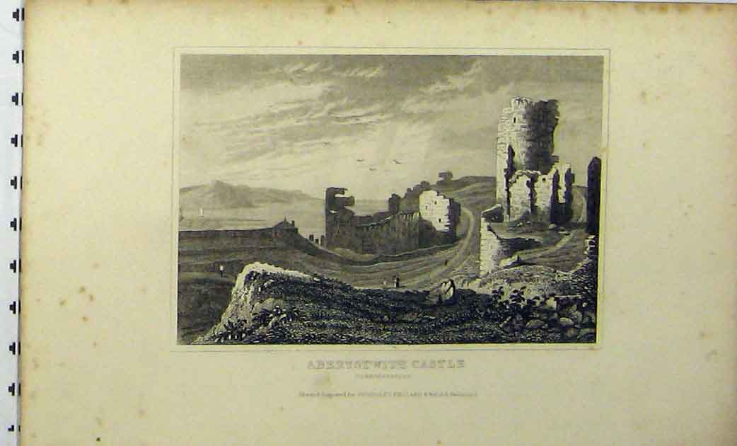 Print C1848 View Aberystwith Castle Cardiganshire Dugdales 272A114 Old Original
