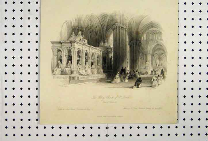 Print C1865 View Abbey Church St Denis Tomb Louis Xii 102A115 Old Original