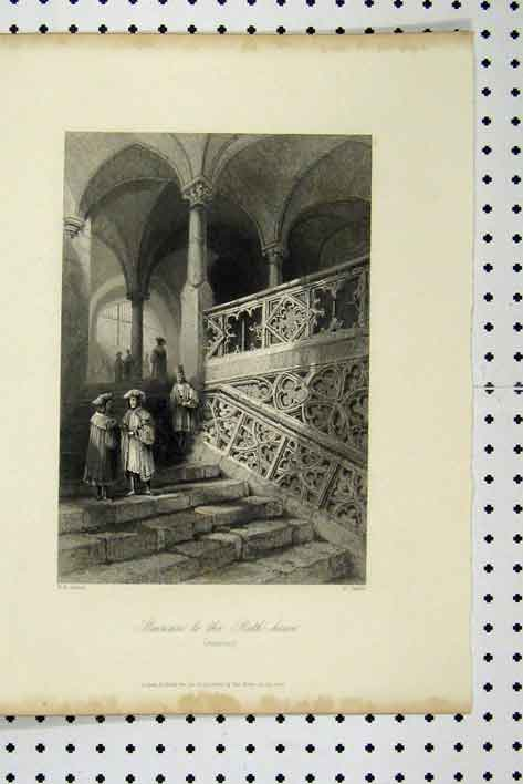Print C1865 Staircase Rath House Men Ratisbon 106A115 Old Original