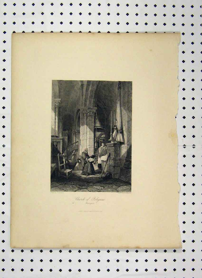 Print C1865 Scene Church Polignac People Praying 111A115 Old Original